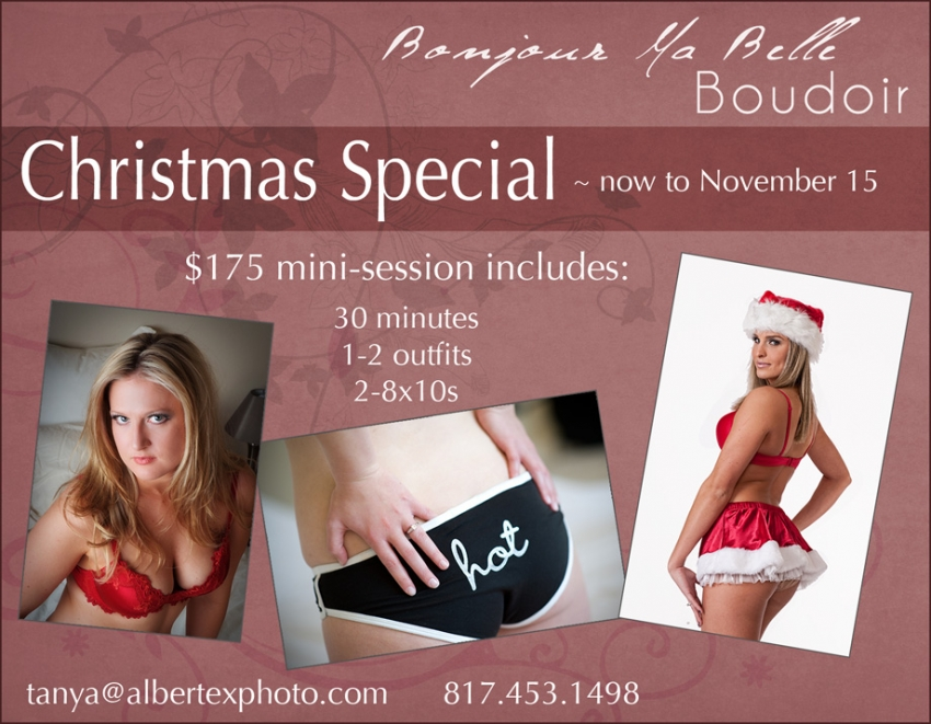 Boudoir photography Christmas special 2010 from Dallas Fort Worth DFW Boudoir photographers Albertex Photography and Bonjour Ma Belle Boudoir