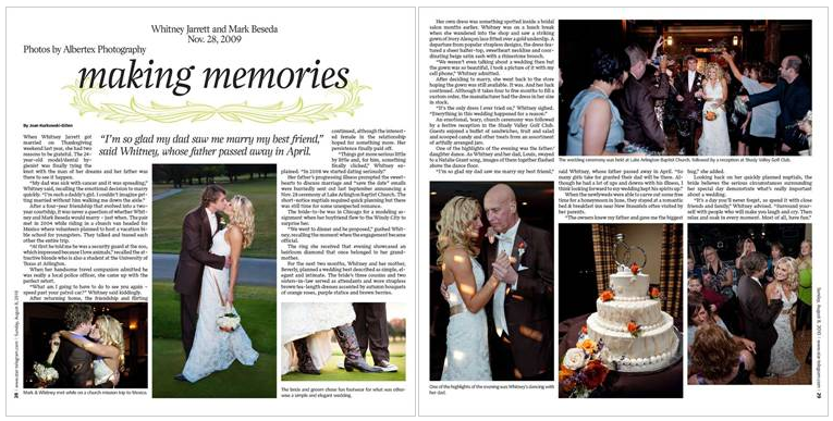 Feature Wedding in the Fort Worth Star-Telegram by Dallas Fort Worth DFW Wedding Photographers Albertex Photography