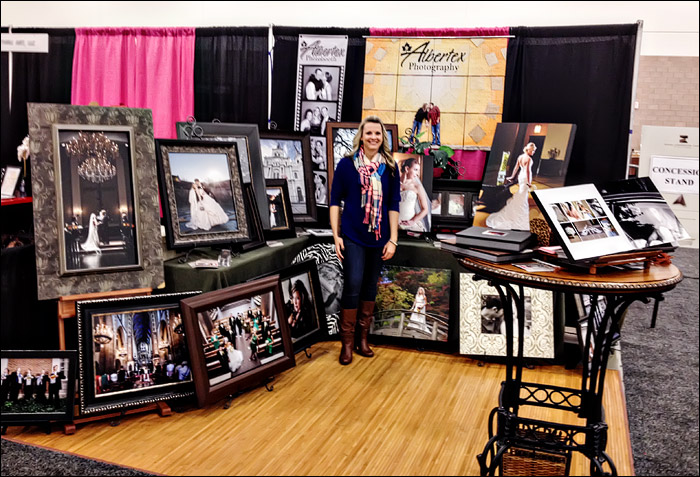 Las Colinas Bridal Show booth for Bill and Tanya Vahrenkamp an Albertex Photography at the Irving Convention Center