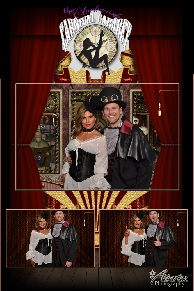 Andy and Cassandra at the Clockwork Carnival Cabaret Wedding